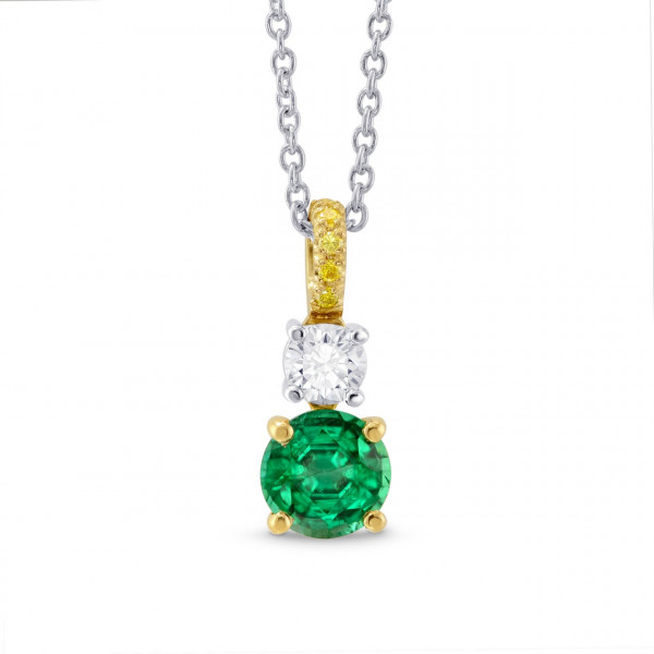 3 stone Green Emerald, Yellow and White Diamond Pendant (0.60Ct TW)