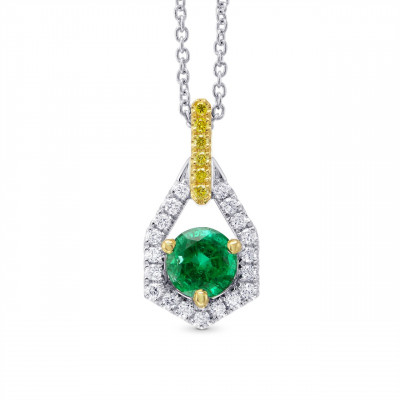 Round Green Emerald, Yellow and White Diamond Pendant (0.69Ct TW)