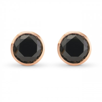 Natural Fancy Black Round Diamond Stud Earrings (4.41Ct TW)