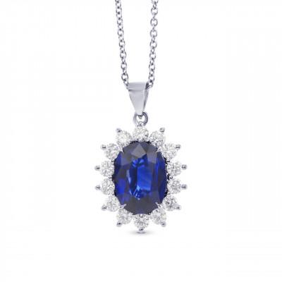 Royal Vivid Blue Sapphire & Diamond Pendant (3.53Ct TW)