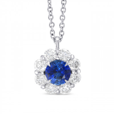 Sapphire and Diamond Round Brilliant Halo Pendant (1.35Ct TW)