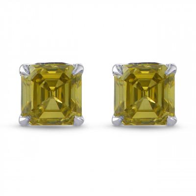 Fancy Brownish Greenish Yellow Emerald Brilliant Stud Earrings (0.54Ct TW)