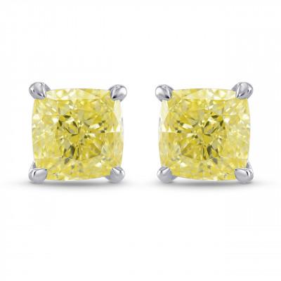 Fancy Yellow Cushion Diamond Stud Earrings (1.53Ct TW)