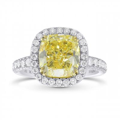 Extraordinary Fancy  Yellow Cushion Diamond  Halo Ring (4.45Ct TW)