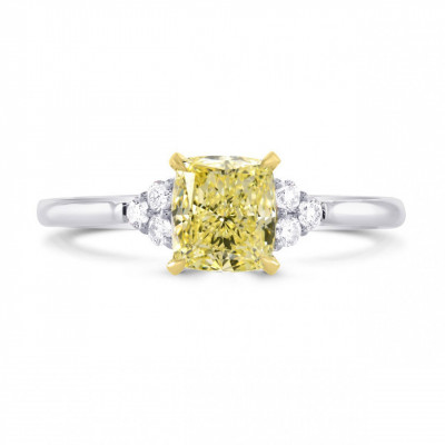 Fancy Yellow Cushion Diamond Ring (1.12Ct TW)