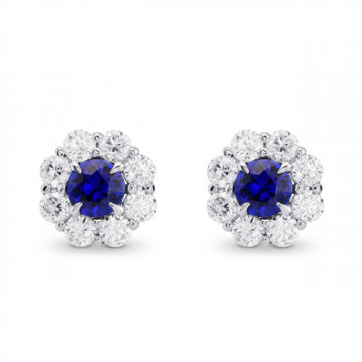 Blue Sapphire and Diamond Round Brilliant Halo Earrings (3.26Ct TW)