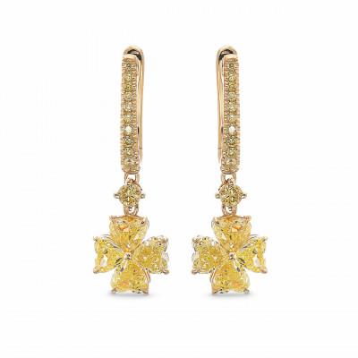 Fancy Yellow Heart shape Drop Diamond Earrings (2.83Ct TW)