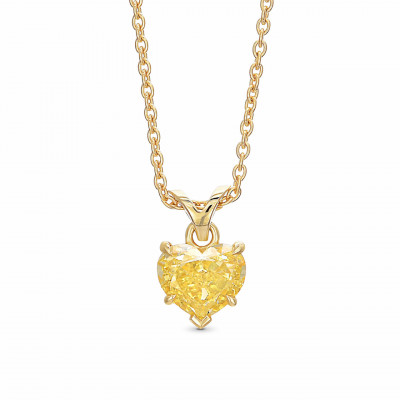 Fancy Brownish Yellow Heart Diamond Solitaire Pendant (1.08Ct)