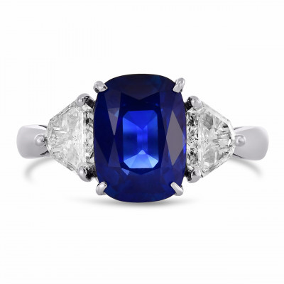 Cushion Kashmir Blue Sapphire and Diamond 3 Stones Ring (4.34Ct TW)