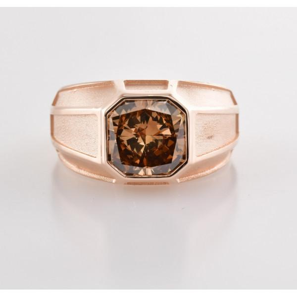 Fancy Dark Orange Brown Radiant Shape Mens Ring (3.11Ct)
