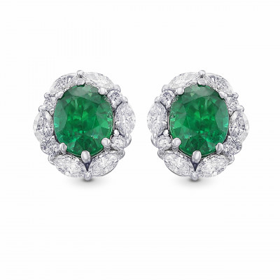 Extraordinary Oval Emerald and Diamond Halo Earrings (3.19Ct TW)