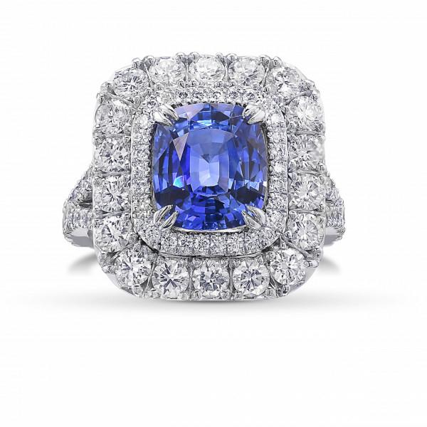 Cornflower Blue Sapphire Cushion and Diamond  Double Halo Ring (4.80Ct TW)