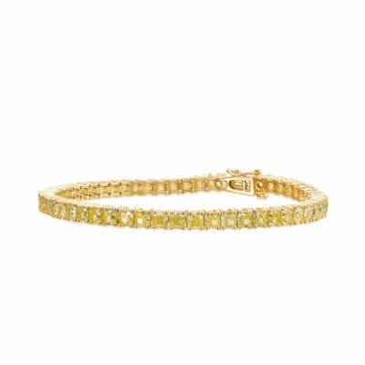 Fancy Yellow Radiant Diamond Tennis Bracelet (11.58Ct TW)