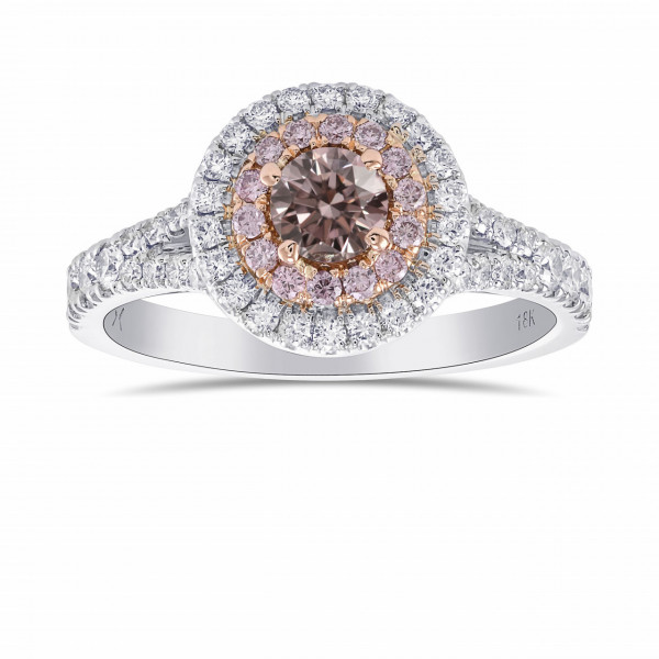 Argyle Fancy Brownish Pink Round Diamond Double Halo Ring (0.68Ct TW)