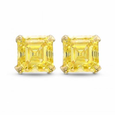 Fancy Intense Yellow Asscher shape Stud Earrings (1.27Ct TW)