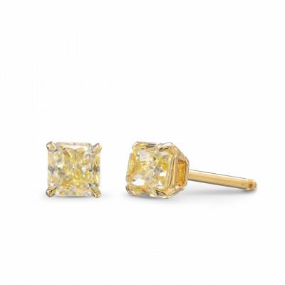 Light Yellow Cushion Diamond Stud Earrings (1.36Ct TW)