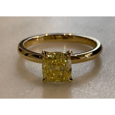 Fancy Intense Yellow Cushion Solitaire Diamond Ring (1.40Ct)