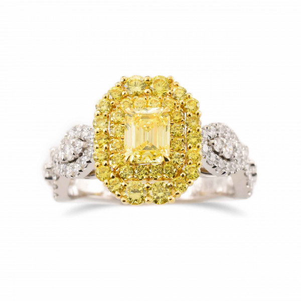 Fancy Intense Yellow Emerald Double Halo Ring (1.20Ct TW)