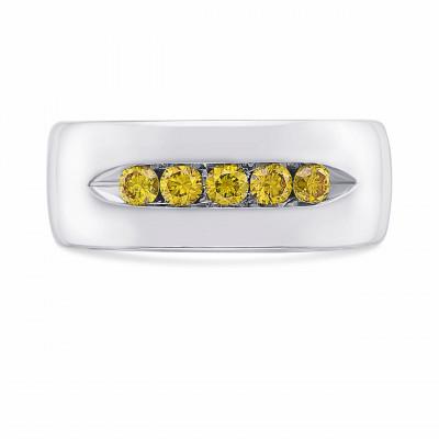 Fancy Vivid Orange Yellow Men's Diamond Band Ring (0.55Ct TW)