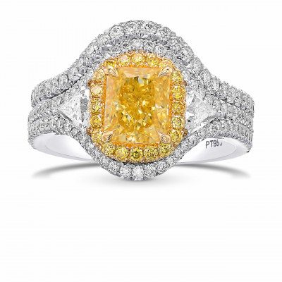 Fancy Intense Yellow Radiant Double Halo Diamond Ring With Matching Wedding Band (2.85Ct TW)
