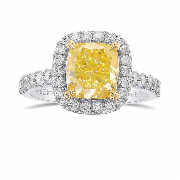 Fancy Intense Yellow Cushion Halo Diamond Ring (2.68Ct TW)