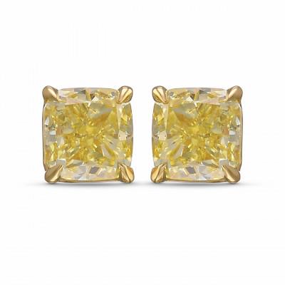 Fancy Yellow Cushion Diamond Stud Earrings (1.18Ct TW)
