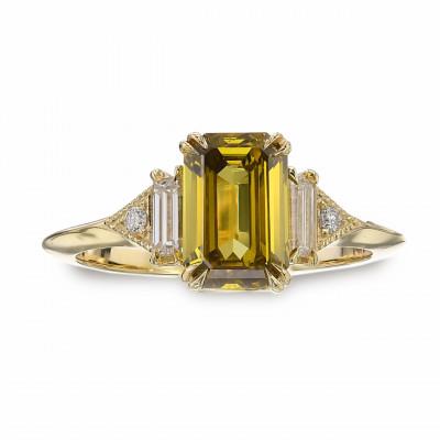 Fancy Deep Brownish Greenish Yellow Emerald Side Stone Diamond Ring (1.45Ct TW)