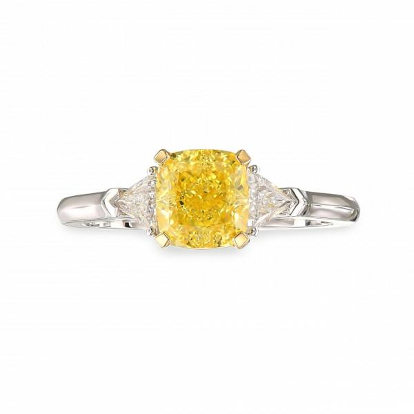 Fancy Intense Yellow Cushion Diamond 3 Stone Ring (1.76Ct TW)