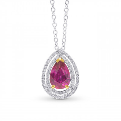 Natural Unheated Ruby and Diamond Double Halo Pendant (2.59Ct TW)