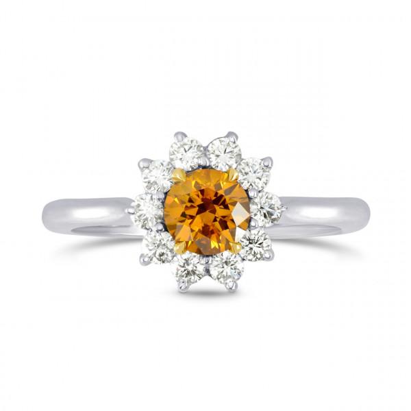 Fancy Deep Brownish Yellowish Orange Round Brilliant Diamond Halo Ring (0.87Ct TW)