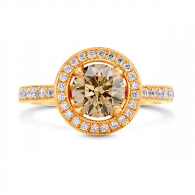 Fancy Yellowish Brown Diamond Halo Engagement Ring (1.61Ct TW)