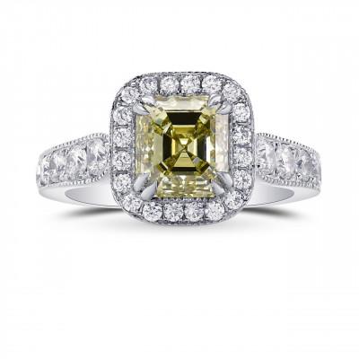 Fancy Grayish Greenish Yellow Emerald Shape Diamond Halo Ring (2.79Ct TW)