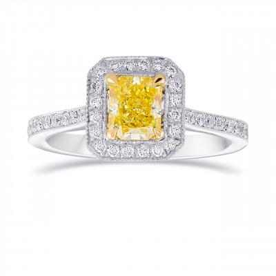 Fancy Intense Yellow Diamond Milgrain Halo Ring (1.18Ct TW)