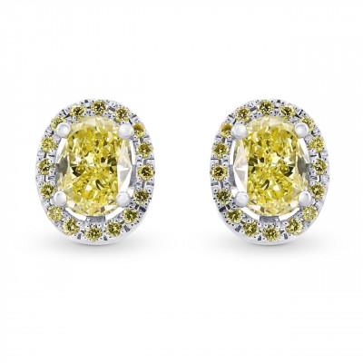 Fancy Yellow Oval Shaped Diamond Halo Earrings (1.31Ct TW)
