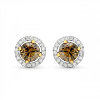 Fancy Brown Round Brilliant Diamond Halo Earrings (1.47Ct TW)