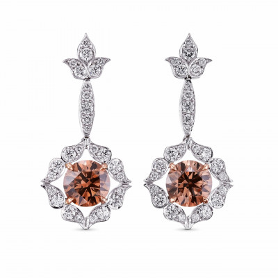 18K White and Rose Gold Fancy Brown Drop Halo Earrings (3.74Ct TW)