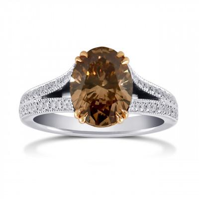Fancy Dark Orangy Brown Oval Side Stone Diamond Ring (2.79Ct TW)